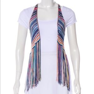 Missing Striped Open Fringe Vest